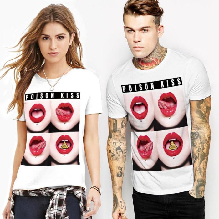 Sexy lips Printed Casual Short Sleeve T-shirt