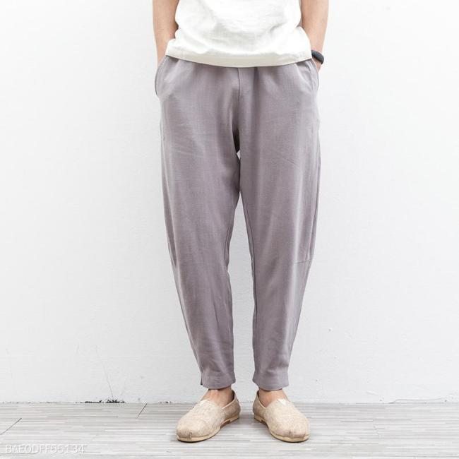 Casual Thin Cotton And Linen Plain Haren Pants