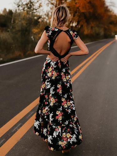Bohemia Asymmetry Floral V Neck Backless Maxi Dress