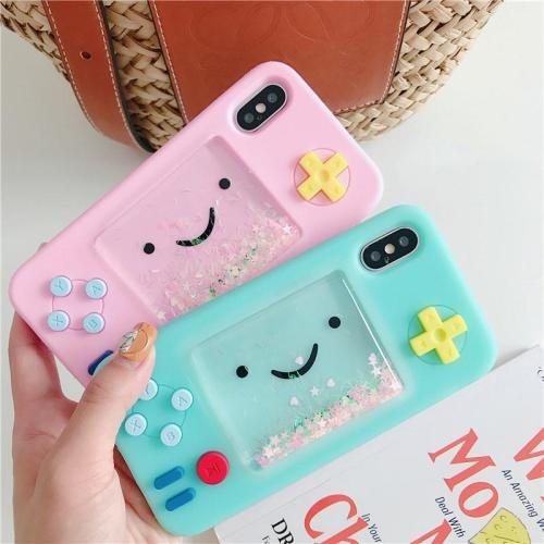 Funny Cartoon Playgame Liquid Phone Case For iPhone