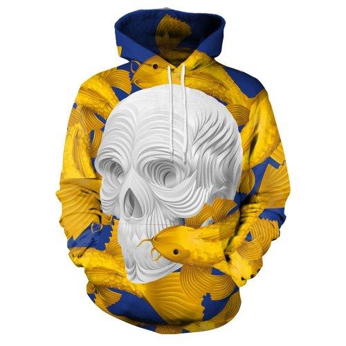 3D Skull Print Hooded Sweatshirt