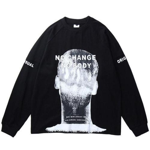 Cheap Mens Hip Hop T Shirt  Human head Print Streetwear Harajuku Oversize Tshirt