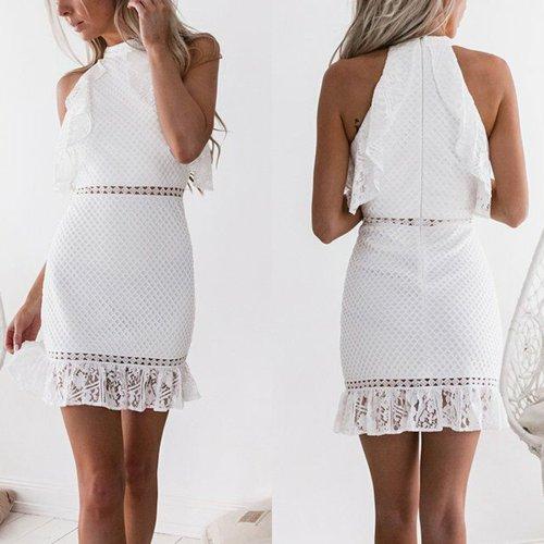 Sexy White Lace Bodycon Mini Dress