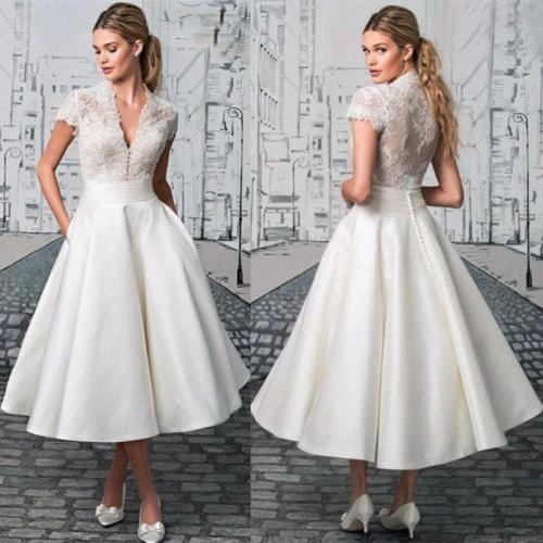 White simple evening dresses Lace V-neck Medium and long section Formal party dress Elegant retro Robe de soiree 2019 New robe