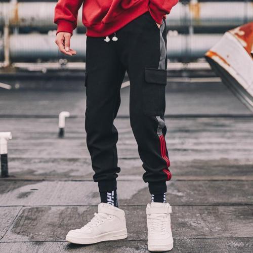 Men's strip casual multi-bag cargo pants LH026
