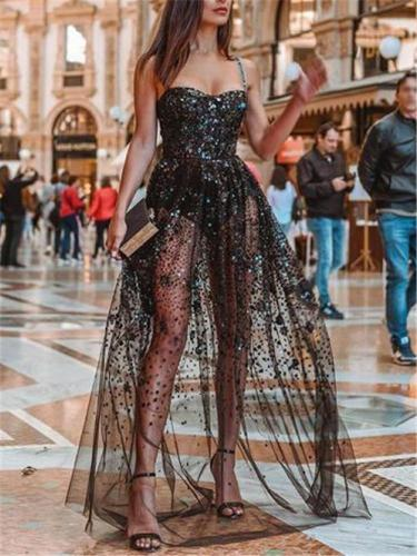 Sexy Colorful Sequin Paneling Transparent Dress