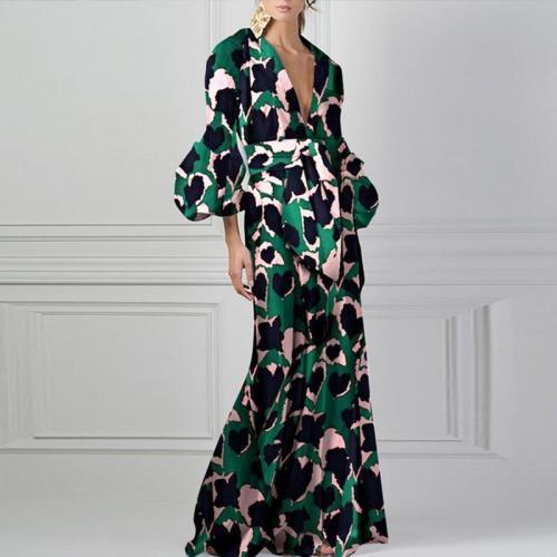 Floral Print V-Neck Fashion Puff Sleeve Dress