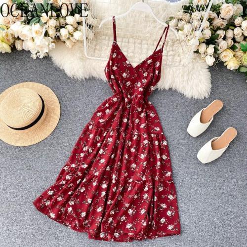 JOYMANMALL Summer Dress Print Floral Vintage Beach Style Women Dresses V Neck High Waist 2020 Korean Fashion Vestidos 15494