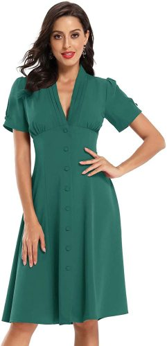 Women's Retro V Neck Vintage Style Cocktail Party Swing Dress with Button Design