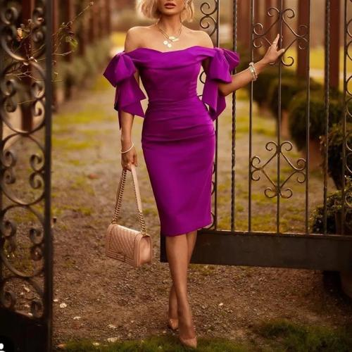 Women's Elegant Sexy Solid Color One-Shoulder Dress
