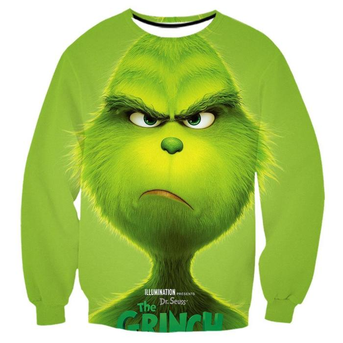 The Grinch Print Funny Christmas Zipper Hoodie T-shirt Pants Casual Ugly Sweatshirt Jacket Coat Outerwear For Men Women