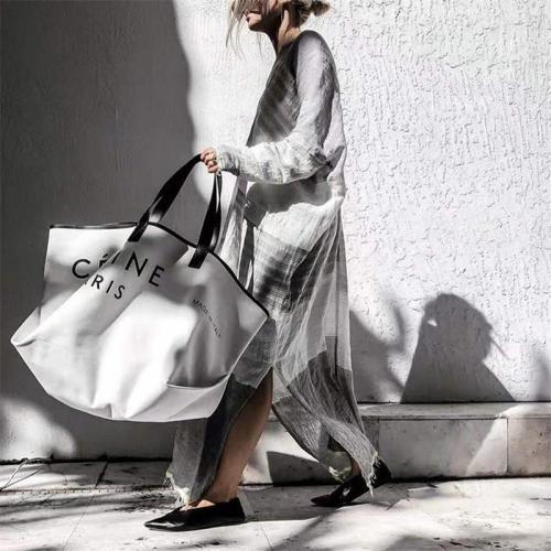 V-Neck Loose Long-Sleeved Stripe Side Slit Ankle-Length Dress