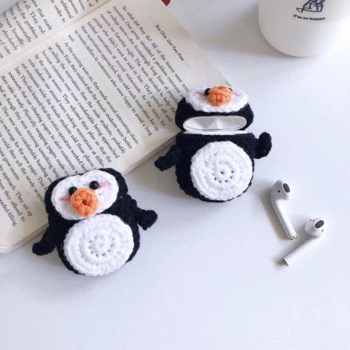 Cartoon Penguin Handmade Knitted Plush Doll Winter AirPod Case