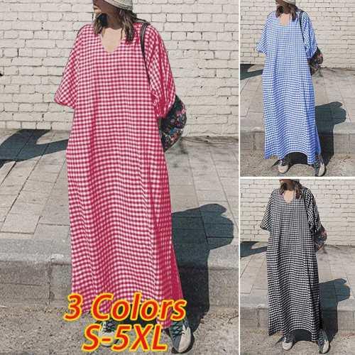2020 Women Sexy V Neck Long Sleeve Plaid Printed Dresses Elegant Bohemian Casual Dress