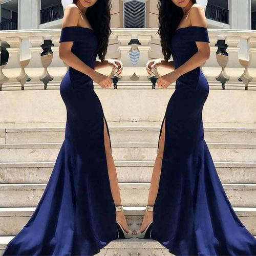Dark Blue Off Shoulder Split Sleeveless Evening Dress