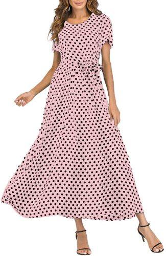 kingfansion Women dress Women's Vintage Crew Neck Polka Dot Bandage Maxi Dresses