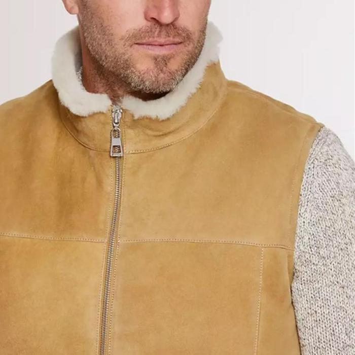 Men suede sleeveless solid color vest