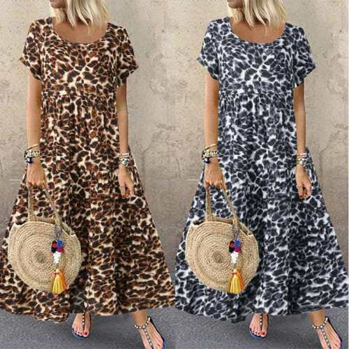 Bohemian Dresses Woman Vintage Leopard Dresses O Neck Loose Dresses Woman Maxi Dress Plus Size Woman's Dresses 2020 Summer Robe