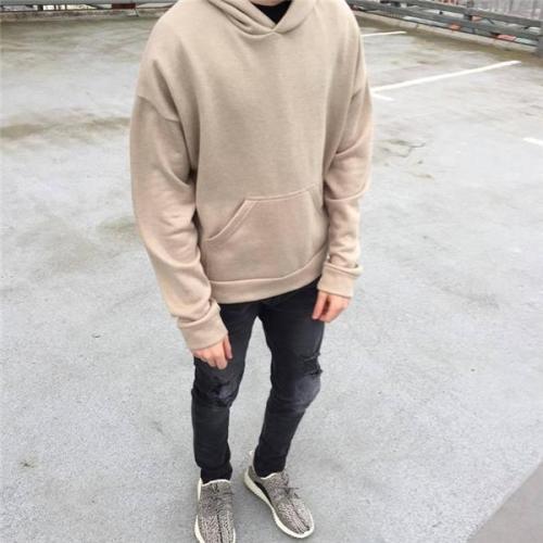 Fashion Casual Youth Loose Plain Long Sleeve Men Hoodie