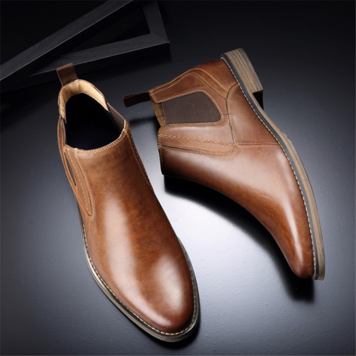 Men's British style casual leather ankle boots