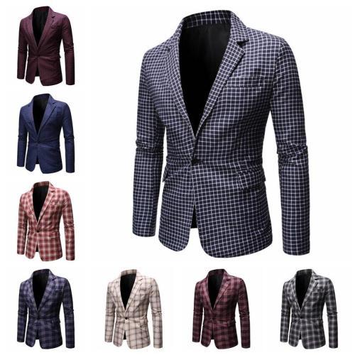 HEFLASHOR Men's Formal Slim Fit Formal Suit One Button Suit Long Sleeve Notched Blazer Male Cotton Blend Coat Jacket Top