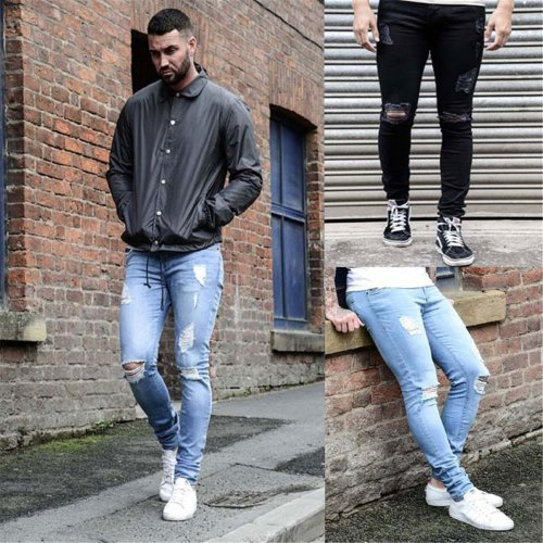 Fashion Plain Hole Slim Jeans Pants