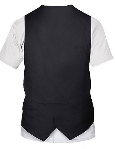 Men Street Chic Color Block 3D Print T-shirt
