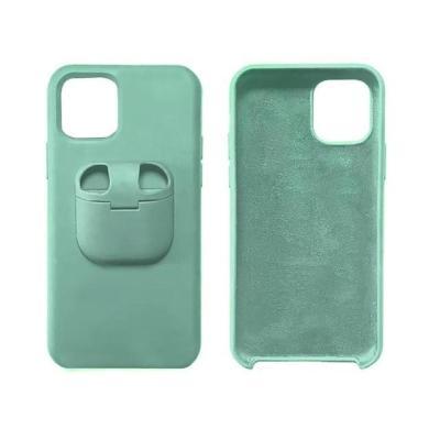 2 in 1 Unqiue Liquid Silicone iPhone Case with AirPods Holder