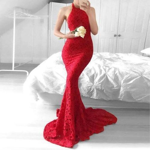 Sexy Halter Backless Sleeveless Red Evening Dress