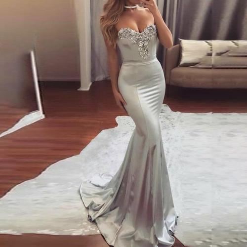 Solid Color Sequined V-neck Evening Dress