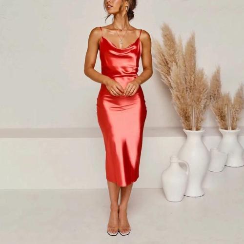 Satin strapless backless sexy dress
