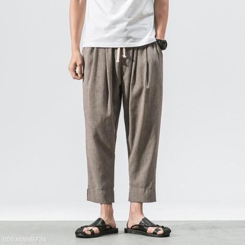 Fashion Youth Linen Plain Casual Ninth Pant