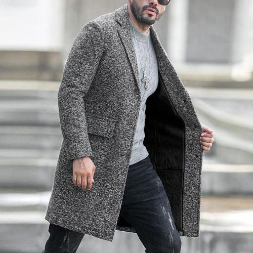 Single-Breasted Lapel Woolen Coat