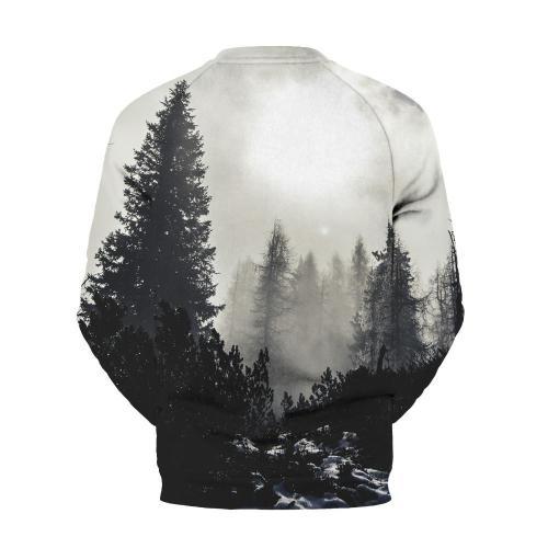 Men's White Mist Forest Printed Round Collar Sweatshirt