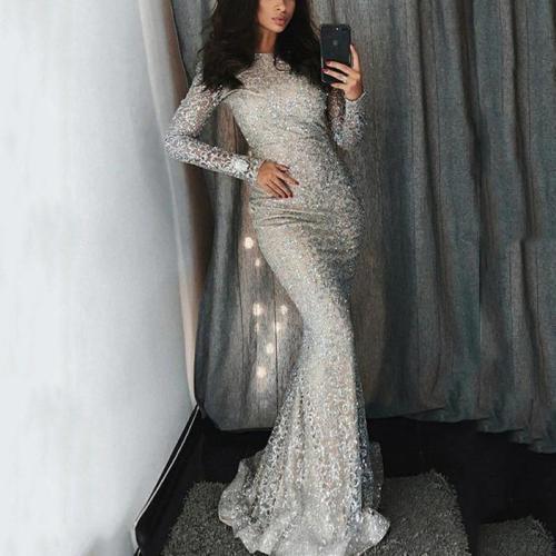 Fashion Sexy Sequins Evenig Party Maxi Bodycon Dresses