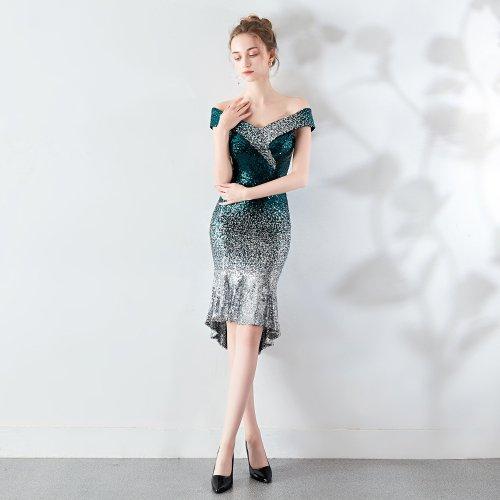 Sexy word collar banquet evening dress fashion gradient evening dresses elegant sequin party evening gown vestido de festa