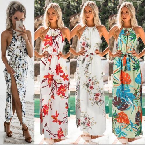 Summer Dress 2020 Print Spaghetti Strap Sleeveless Tight Sexy Dresses Bark Blue Red Green White Dress Beach Vintage Longe Dress