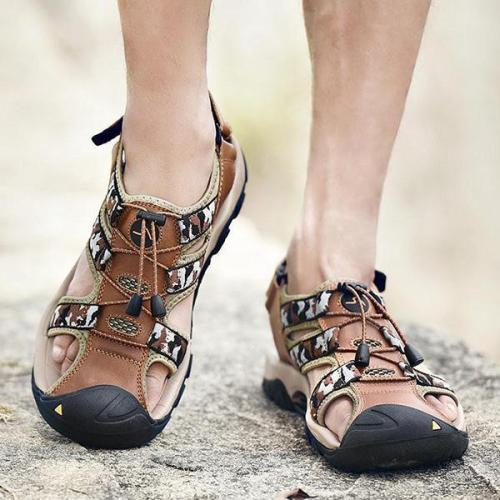 Mens Genuine Leather Hook Loop Anti-collision Outdoor Sandals