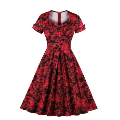 Retro printing evening dress Women Elegant evening gown Sexy Receive Waist formal dress party evening dresses