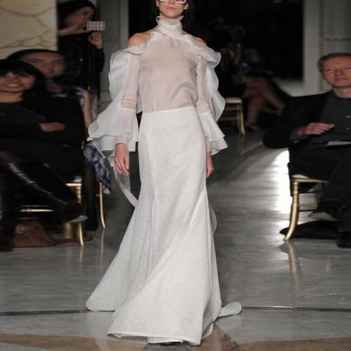 Fashion Irregular Collar Mesh Stitching Long Sleeve Dresses