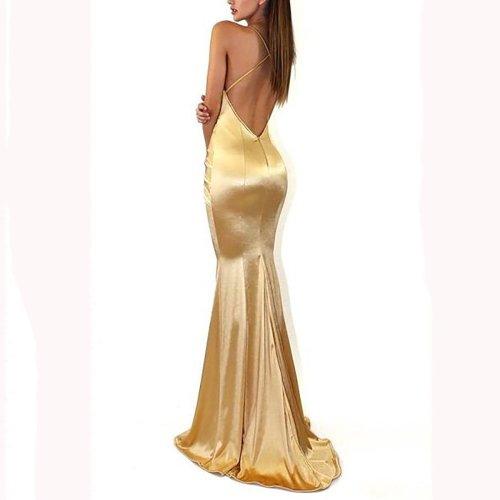 Sexy Elegant Backless Fishtail Evening Maxi Dress