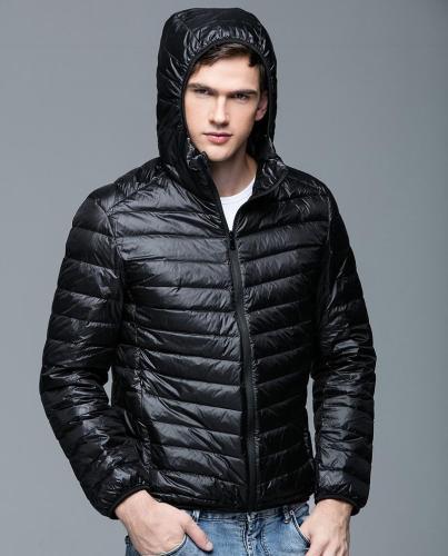 Winter warm Feather Jacket Man Ultralight  Coat Hooded