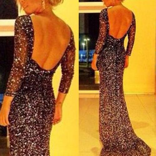 Fashion Sexy Star Bag Hip Evening Dress