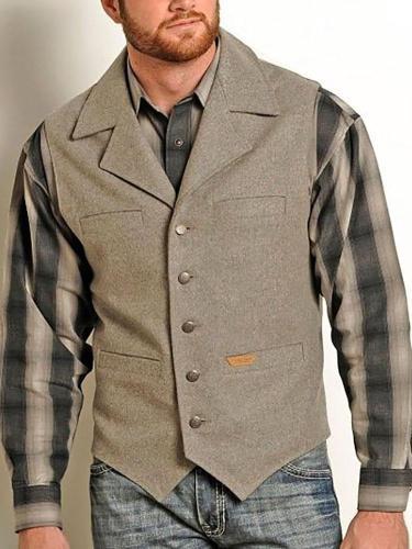 Grey fold collar men's vest