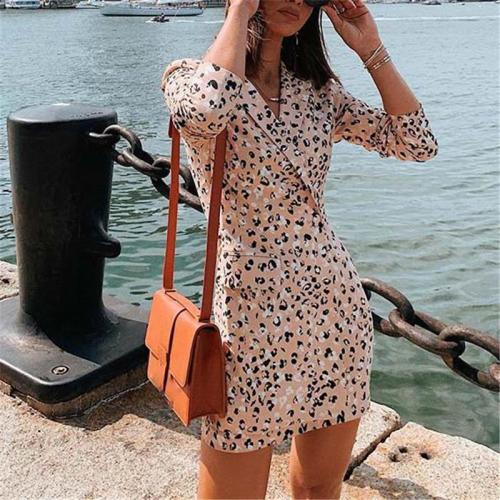 Fashion Lapel Print Long Sleeve Dress
