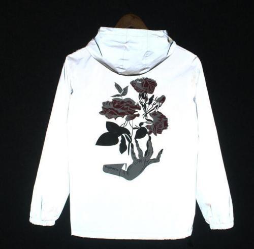 Women Brand Ghost Hand Rose Flower Night Light Jacket Autumn 3M Reflective Jacket Hip Hop Waterproof Windbreaker Coats for women