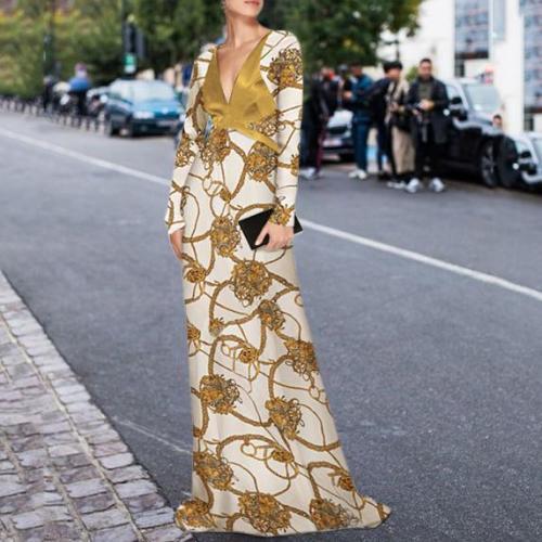 Elegant Sexy Deep V Collar Floral Printed Evening Dress