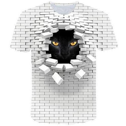 Big and Tall 3D Pink Floyd The Wall and Cat Print Men Short Sleeve T-shirt Tee Tops