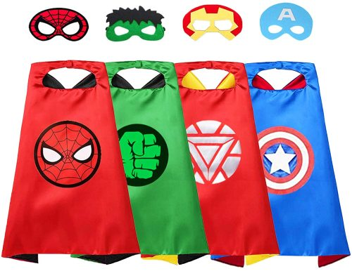 VOSOE Superhero Capes 4 Sets with Masks Cosplay Costumes Party Dress up Gift for Kids