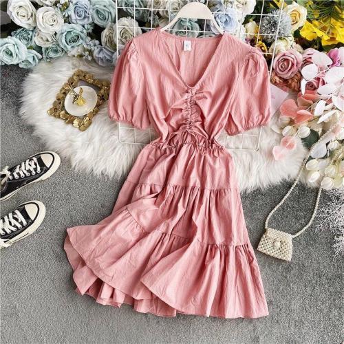 JOYMANMALL Summer Ruched Ruffle Women Dress Rero A-Line Dress Puff Sleeves Streetwear Midi Long Korean Romantic Solid Sundress